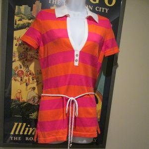Lilly Pulitzer pink orange stripe knit tunic top